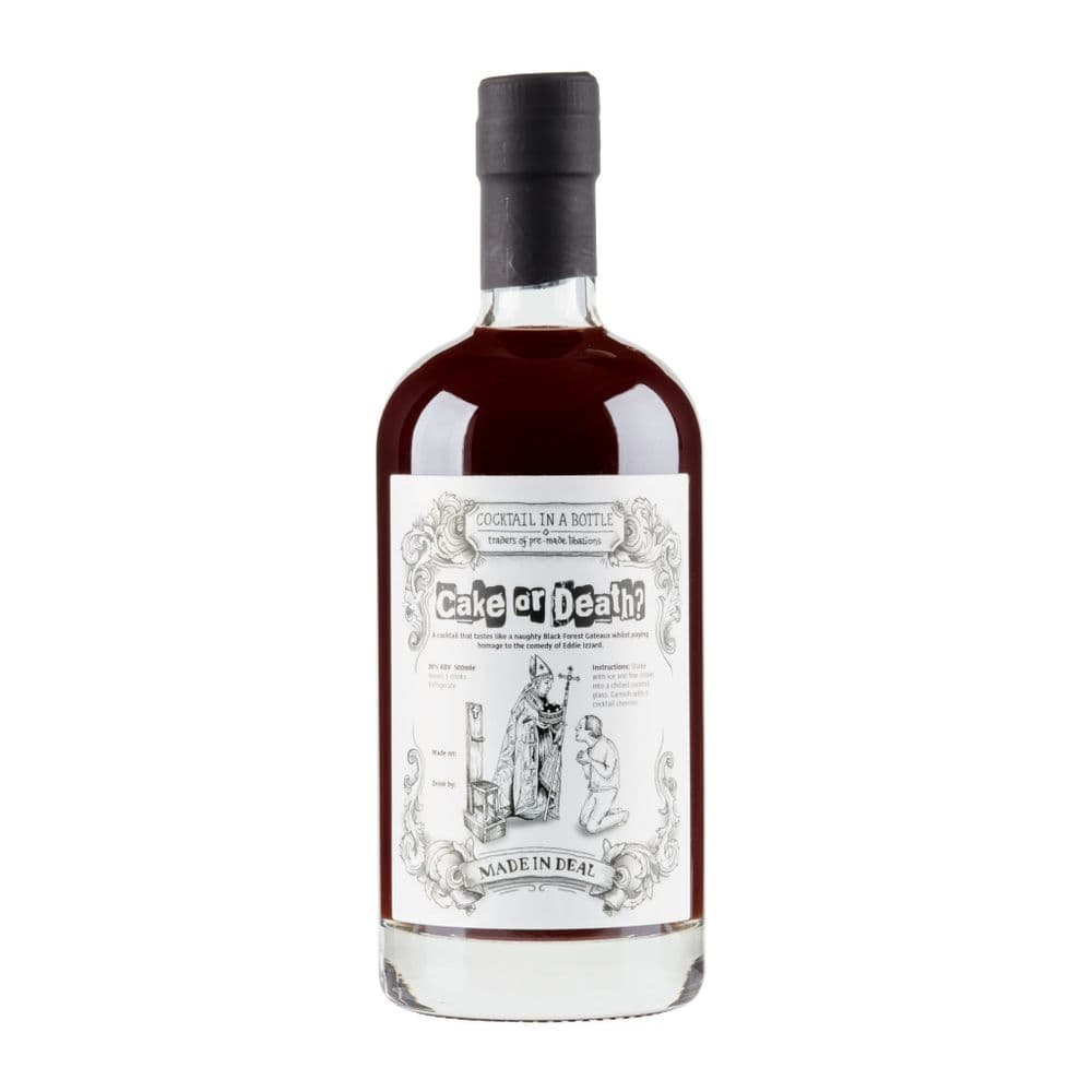 Cake or Death bottled pre-mixed cherry Kirsch cocktail in a bottle