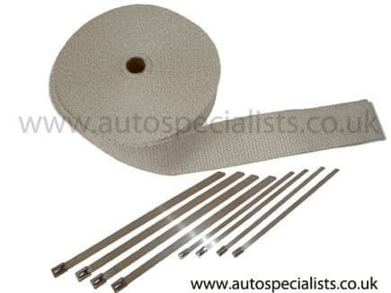 AutoSpecialists High Temperature White Exhaust Wrap