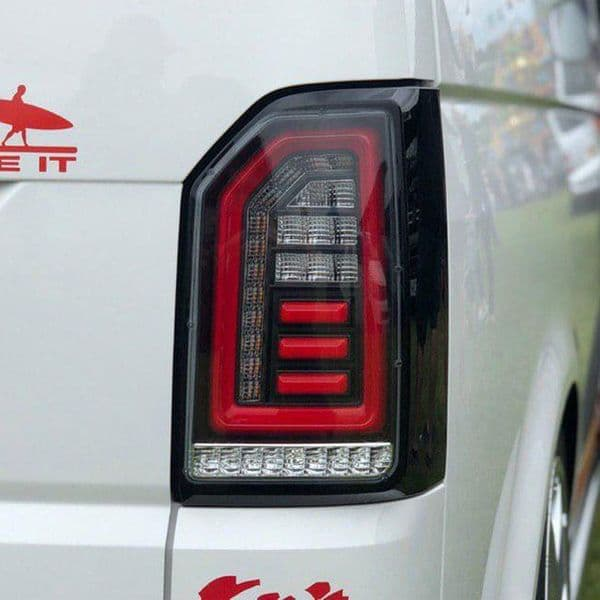Van-X Clear Tailgate Rear Lights w/ Sequential Indicator LED for Transporter T6