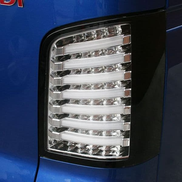 Van-X LED Rear Lights Mk1 Clear/Chrome Housing for Transporter T5