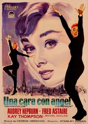 1950's Movie - FUNNY FACE - Audrey Hepburn - Spanish / canvas print - self adhesive poster - photo