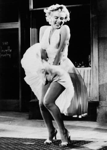 1950's Movie - MARILYN MONROE - SEVEN YEAR ITCH -SKIRT / canvas print - self adhesive poster - photo