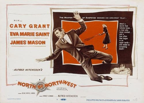 1950's Movie - NORTH BY NORTHWEST - Cary Grant - LS / canvas print - self adhesive poster - photo