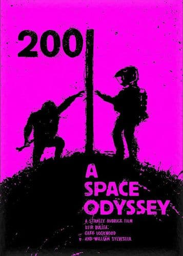 1960's Movie - 2001 A SPACE ODYSSEY - P1 PINK / canvas print - self adhesive poster - photo print