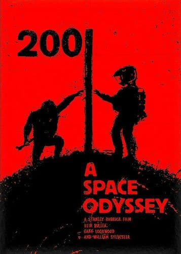 1960's Movie - 2001 A SPACE ODYSSEY - P1 RED / canvas print - self adhesive poster - photo print