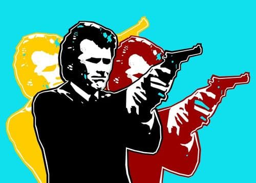 1970's Movie - DIRTY HARRY - Clint Eastwood - pop art  / canvas print - self adhesive poster - photo