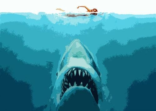 1970's Movie - JAWS - landscape art 2 cut out style / canvas print - self adhesive poster - photo