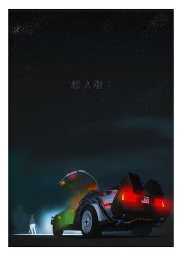 1980's Movie - BACK TO THE FUTURE 'Need a Ride?' - canvas print - self adhesive poster - photo print