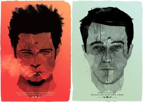 1990's Movie - FIGHT CLUB 2FACE QUOTES canvas print - self adhesive poster - photo print