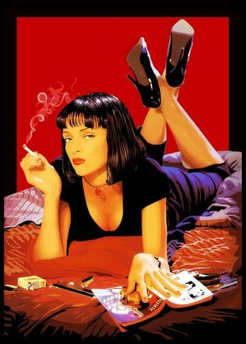 1990's Movie - PULP FICTION - POSTER STYLE PAINT canvas print - self adhesive poster - photo print