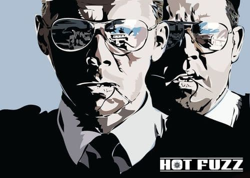 2000's Movie - HOT FUZZ CUT OUT ART - LANDSCAPE canvas print - self adhesive poster - photo print