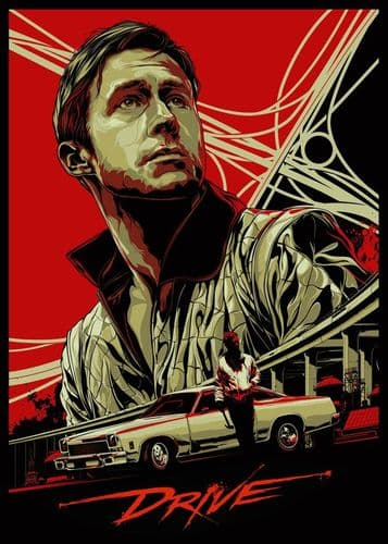 2010's Movie - DRIVE ALTERNATIVE POSTER - RED canvas print - self adhesive poster - photo print