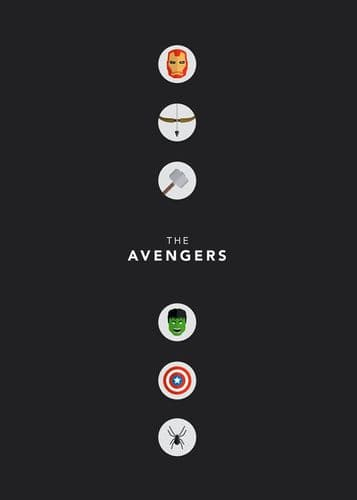 2010's Movie - THE AVENGERS MINIMALIST CHARCOAL GREY / canvas print - self adhesive poster - photo