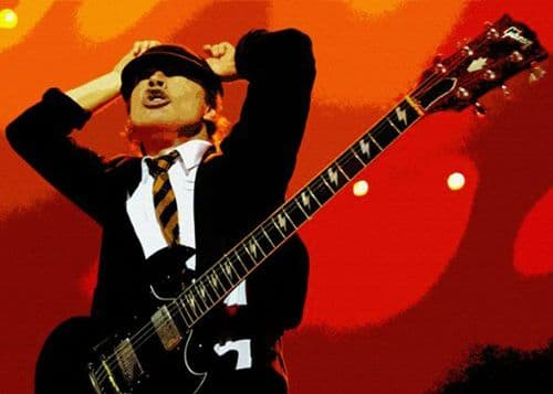 ACDC - ANGUS YOUNG - Horns cut out art canvas print - self adhesive poster - photo print