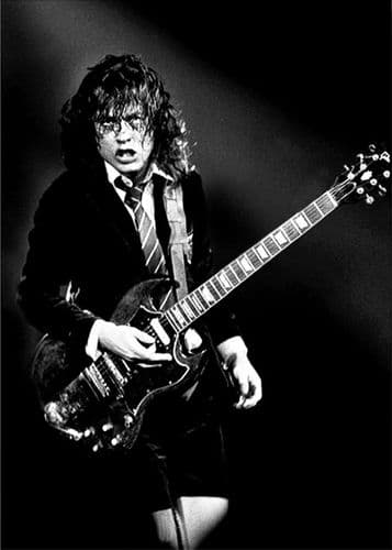 ACDC - Angus Young bw canvas print - self adhesive poster - photo print