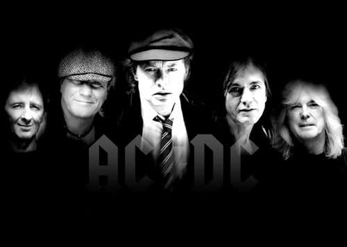 ACDC - BLACK AND WHITE BAND OLDER canvas print - self adhesive poster - photo print