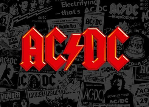 ACDC - Collage logo red canvas print - self adhesive poster - photo print