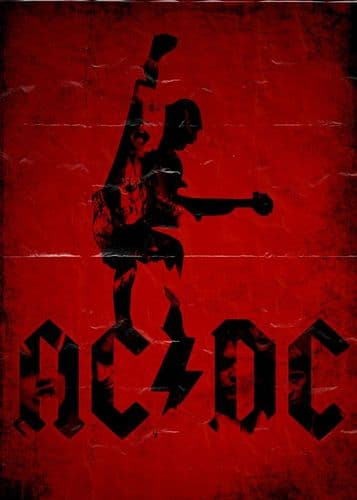 ACDC - red poster creased canvas print - self adhesive poster - photo print