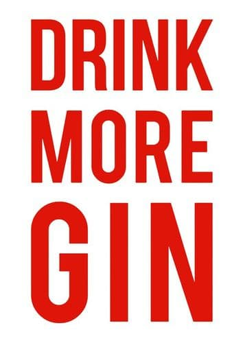ART - DRINK MORE GIN - RED canvas print - self adhesive poster - photo print