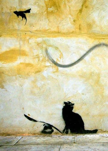 BANKSY - CAT AND STUNT MOUSE canvas print - self adhesive poster - photo print