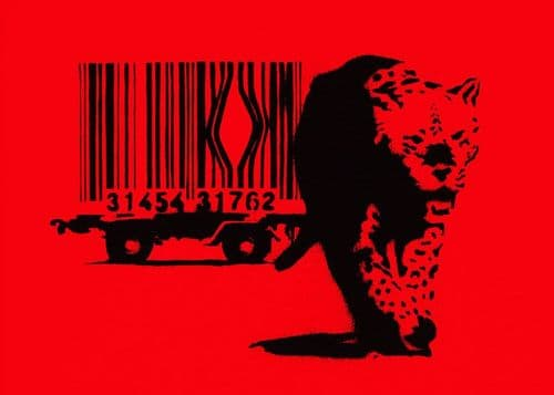 BANKSY - ESCAPE THE BAR CODE - Red canvas print - self adhesive poster - photo print