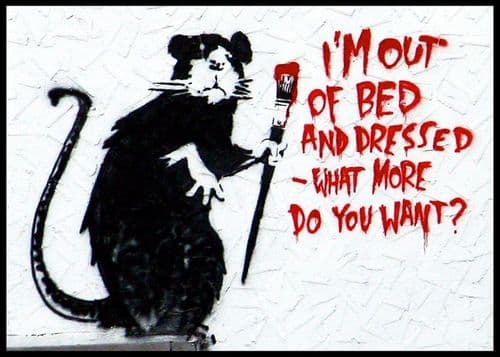 BANKSY - I'M OUT OF BED canvas print - self adhesive poster - photo print