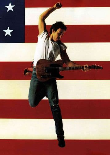BRUCE SPRINGSTEEN - BORN IN THE USA FLAG canvas print - self adhesive poster - photo print