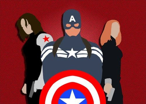 CAPTAIN AMERICA - WINTER SOLDIER MINIMAL RED canvas print - self adhesive poster - photo print