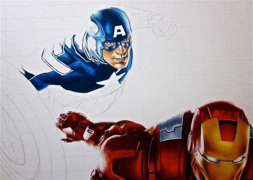 CAPTAIN AMERICA - WITH IRON MAN SKETCH canvas print - self adhesive poster - photo print