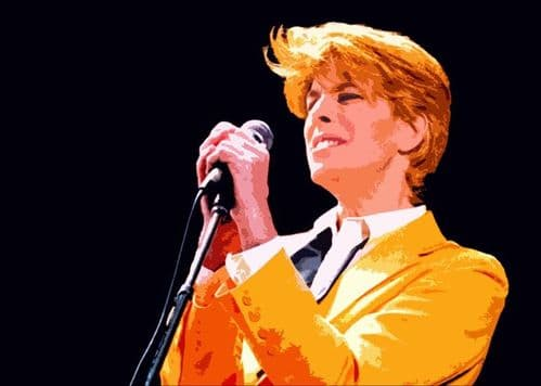 David Bowie - yellow jacket paint style canvas print - self adhesive poster - photo print
