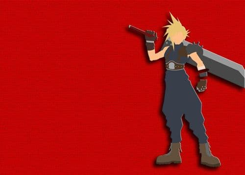 GAMES - FINAL FANTASY - CLOUD MINIMAL RED canvas print - self adhesive poster - photo print