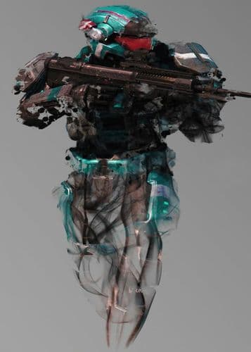 GAMES - HALO SPARTAN SKETCH ART TURQUOISE canvas print - self adhesive poster - photo print