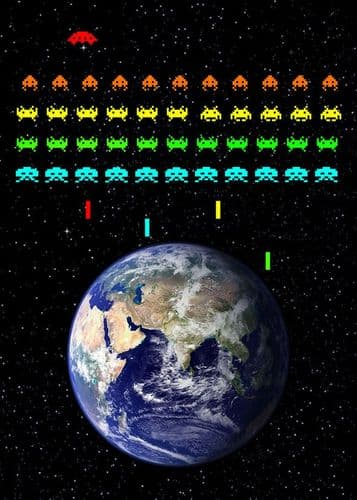 GAMES - SPACE INVADERS - EARTH INVASION canvas print - self adhesive poster - photo print