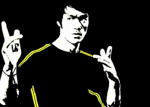 ICONIC - BRUCE LEE - YELLOW STRIPES canvas print - self adhesive poster - photo print
