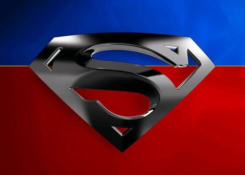 SUPERMAN - SILVER LOGO ON RED AND BLUE canvas print - self adhesive poster - photo print