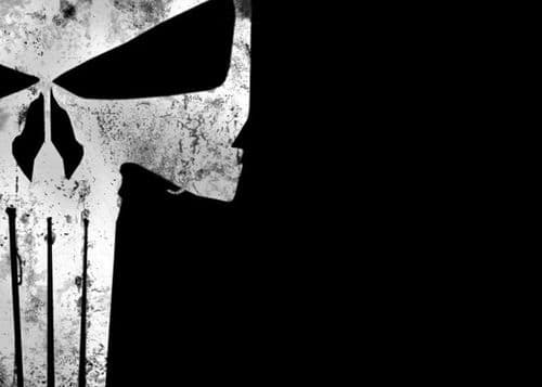 THE PUNISHER - BLACK SCULL LOGO - Landscape canvas print - self adhesive poster - photo print