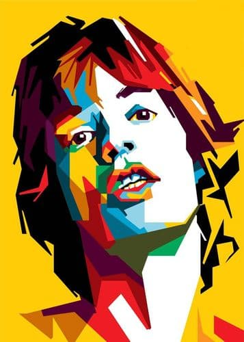 THE ROLLING STONES - Mick Jagger cuts yellow canvas print - self adhesive poster - photo print