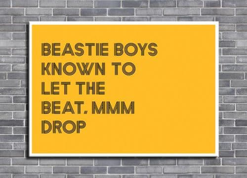 Beastie Boys - MMM DROP orange -  canvas print - self adhesive poster - photo print