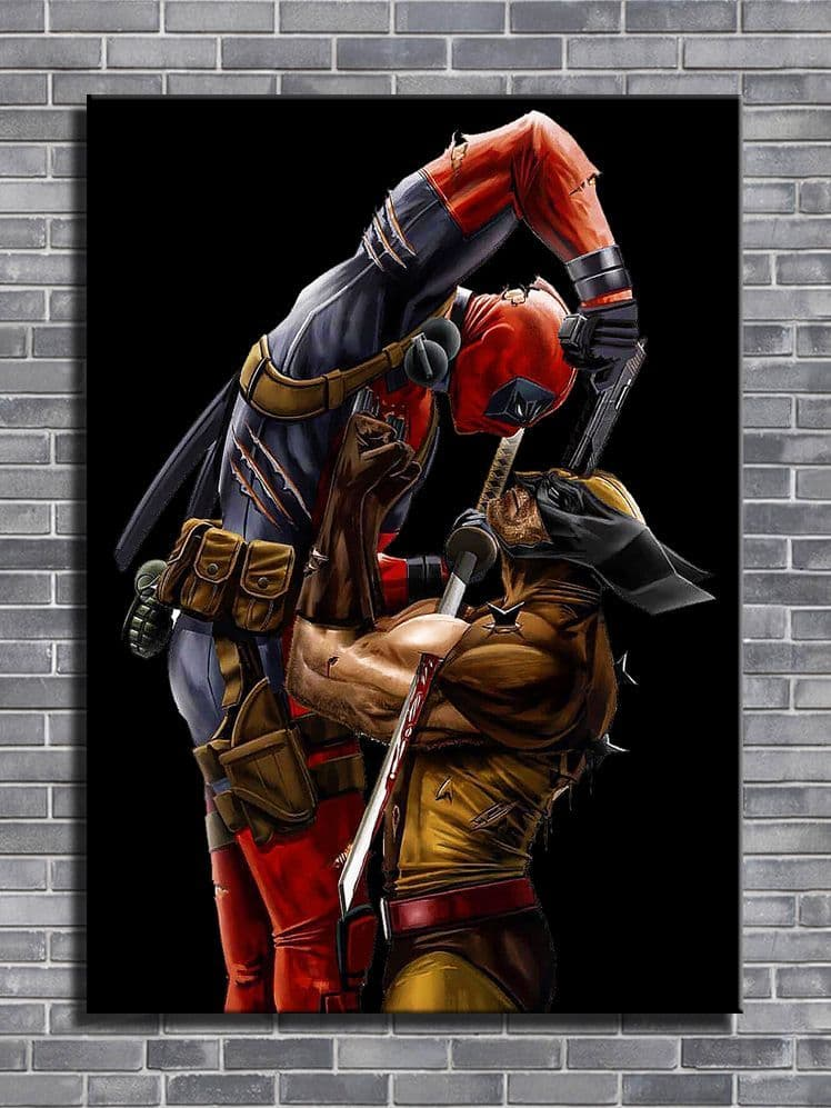DEADPOOL - v Wolverine black - canvas print - self adhesive poster - photo print