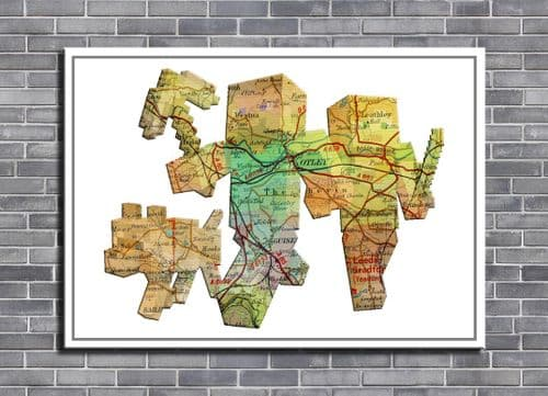 GAMES - MINECRAFT CAST PERSONALISED MAP ART canvas print - self adhesive poster - photo print
