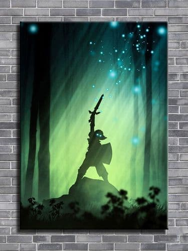 GAMES - ZELDA woodland warrior portrait -  canvas print - self adhesive poster - photo print