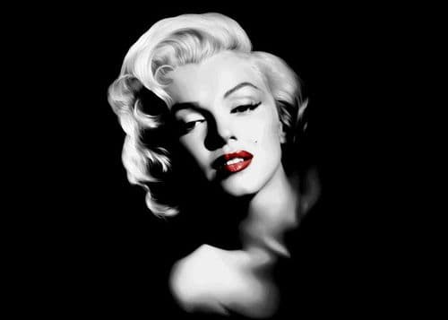 ICONIC - MARILYN MONROE - BLACK LS CENTERED RED LIPS / canvas print - self adhesive poster - photo