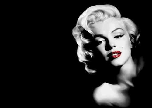 ICONIC - MARILYN MONROE - BLACK LS RIGHT RED LIPS / canvas print - self adhesive poster - photo