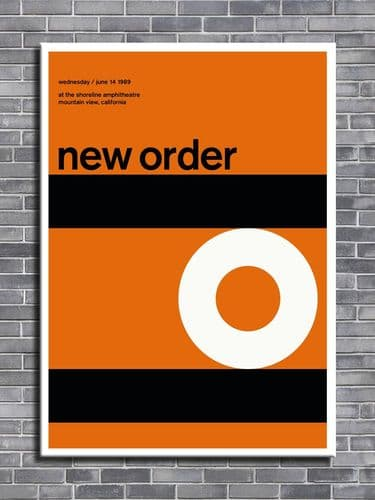 NEW ORDER - California 1989 Orange -  canvas print - self adhesive poster - photo print