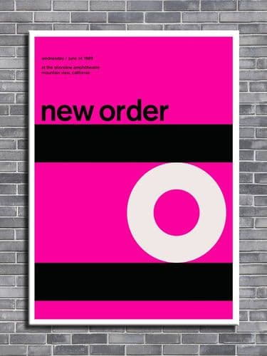NEW ORDER - California 1989 Pink -  canvas print - self adhesive poster - photo print