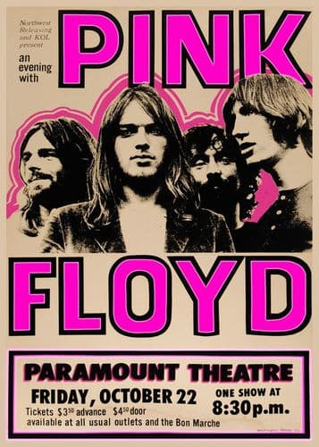 PINK FLOYD - PARAMOUNT THEATER LIVE / canvas print - self adhesive poster - photo print