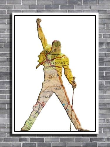 Queen - Freddie Map - PERSONALISED TO YOUR TOWN CHOICE - canvas print - self ad poster - photo print
