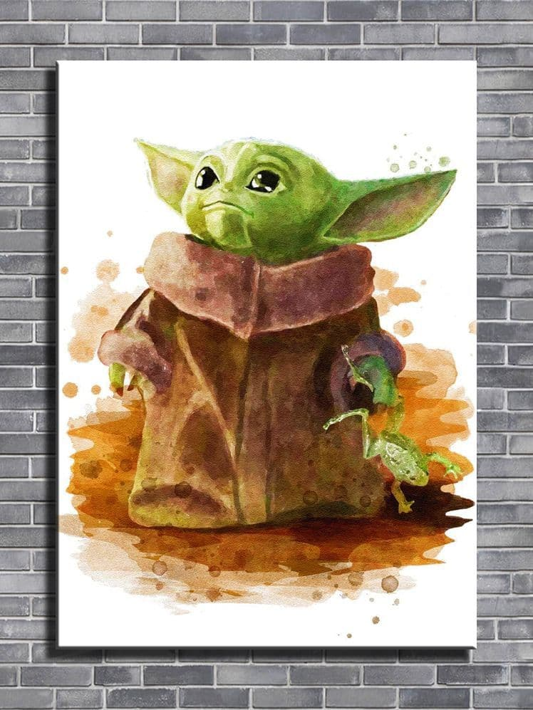 STAR WARS - Baby Yoda paint style - framed canvas print - self adhesive poster - photo print