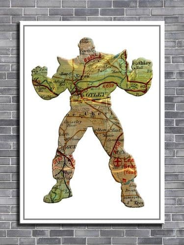 THE AVENGERS THANOS POSE Personalised map art - canvas print - self adhesive poster - photo print