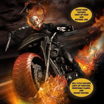 Mezco One:12 Collective Marvel Ghost Rider & Hell Cycle Action Figure Set